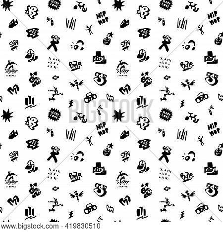 Rap Music , Street Life - Seamless Vector Background