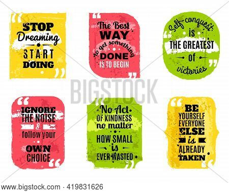 Inspirational Famous Quotes Of Wisdom For Every Day Colored Textured Decorative Icons Set Abstract I