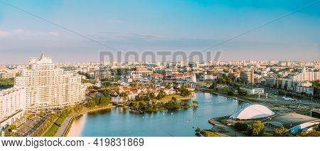 Minsk, Belarus. Elevated View Of Historical Center, Old Town. Minsk Skyline In Sunny Summer Evening.