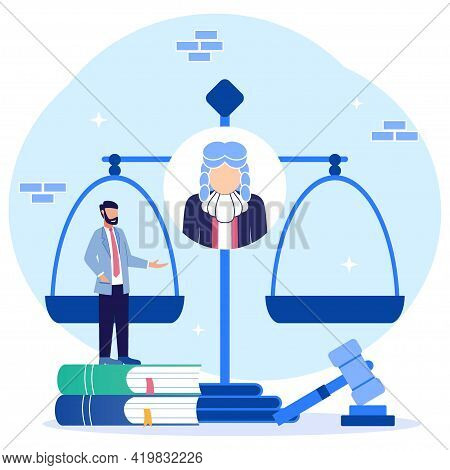 Vector Illustration Of The Concept Of Law As A Study Of Jurisprudence And Assessing Cases. Decisions