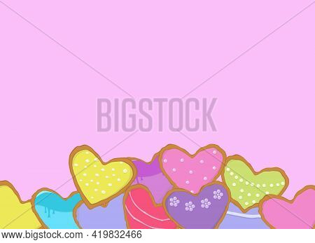 Vector Illustration. Many Beautiful Multi-colored Gingerbread In The Form Of Hearts With Decorations