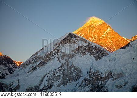 Spectacular Orange Sunset Mount Everest From Kala Patthar Lookout, Nepal.