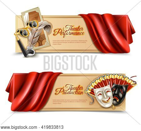 Theatre Performance Realistic Horizontal Banners Set With Curtain And Masks Isolated Vector Illustra