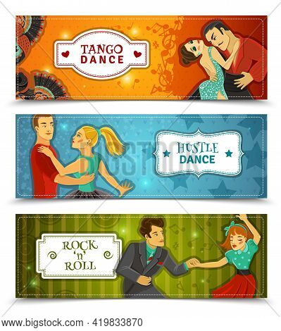 Tango Hustle Rock And Roll Dance 3 Horizontal Flat Retro Disco Banners Set Abstract Isolated Vector