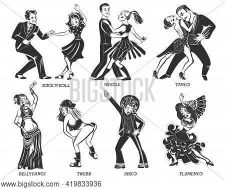 Native  Popular Dance Pair And Individual Performance Black Icons Set With Disco And Flamenco Isolat