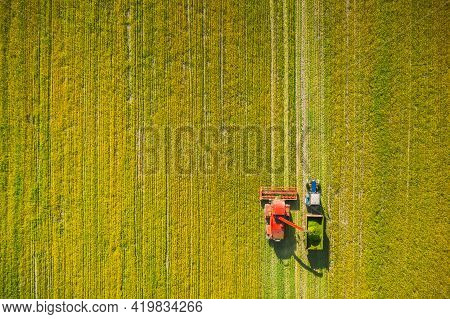 Aerial View Of Rural Landscape. Combine Harvester And Tractor Working Together In Field. Harvesting