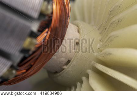 Cooling Impeller On Electric Motor Close Up. Electric Motor Rotor.