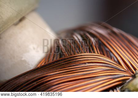 Rotor Of An Electric Motor Close Up. Copper Motor Windings.