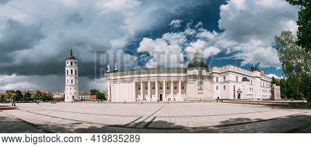 Vilnius, Lithuania. Panorama Of Bell Tower Chapel And Cathedral Basilica Of St. Stanislaus And St. V