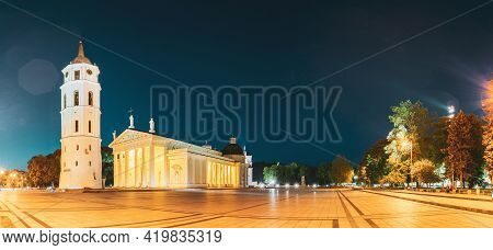 Vilnius, Lithuania, Eastern Europe. Evening Night Panorama Of Bell Tower Belfry, Cathedral Basilica