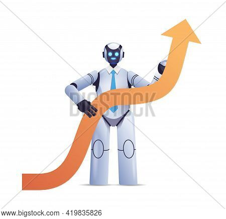 Modern Robot Holding Upward Arrow Business Growth Achievement Success Artificial Intelligence Concep