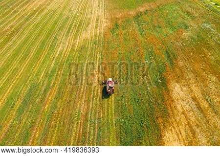 Aerial View Of Rural Landscape. Combine Harvester Working In Field, Collects Seeds. Harvesting Of Wh