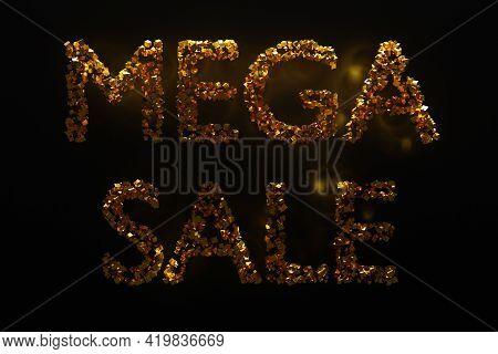 3d Illustration Of A  Gold Geometric  Inscription Mega Sale Background. Mega Sale Discount Offer Des