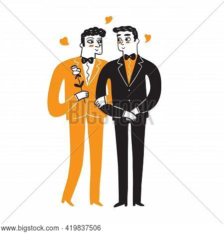 Homosexual Couples Celebrating Love, Proposal, Walking, Gay Valentines Day, Wedding. Lgbt Family, Pr