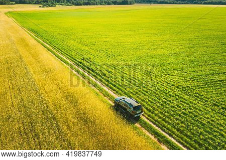 Gomel, Belarus - June 23, 2020: Aerial View Of Renault Duster Car Suv Parked Near Countryside Road I