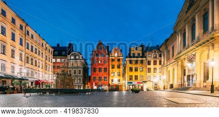 Stockholm, Sweden - June 30, 2019: Famous Old Colorful Houses, Swedish Academy And Nobel Museum In O