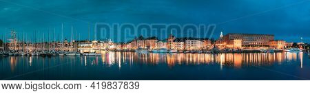 Stockholm, Sweden - June 30, 2019: Scenic Famous View Of Embankment In Old Town Of Stockholm In Nigh
