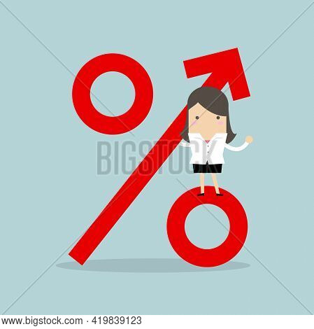 Businesswoman Standing On Percentage Sign. Revenue Growth.