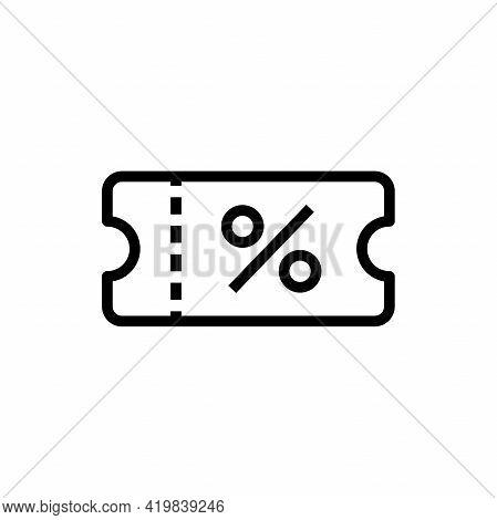 Discount Voucher Outline Icon. Thin Line Black Discount Voucher Icon Vector.