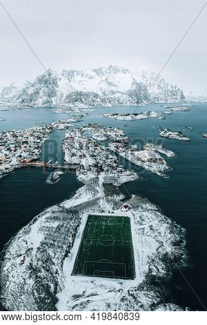 Drone view of Henningsvaer football Stadium