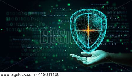 Antivirus Shield Icon On Hand Of Businessman Using Cyber Security Privacy Or Information Privacy To