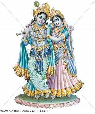 Indian God Radhakrishna, Indian Lord Krishna,  Indian Mythological Image Of Radhakrishna.