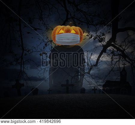 Halloween Jack O Lantern Pumpkin Wearing Medical Face Mask Standing Over Grass, Dead Tree, Cross, Bi