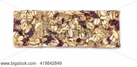Red Berry Granola Bar Isolated On White Background