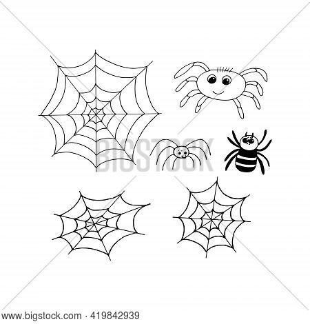Spider And Cobweb Set Icon. Hand Drawn Doodle Style. Vector, Minimalism, Monochrome. Halloween Decor