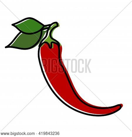 Chili Sketch. Hot Pepper. Fresh Red Vegetable With Green Leaves. Vector Illustration. Spicy Taste. P