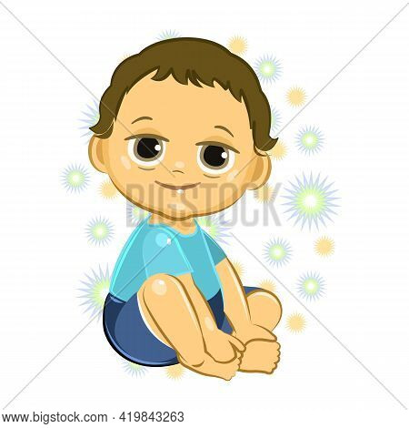Little Child. Boy. Sits Playing Indulges. Isolated Object On A White Background. Cheerful Kind Funny
