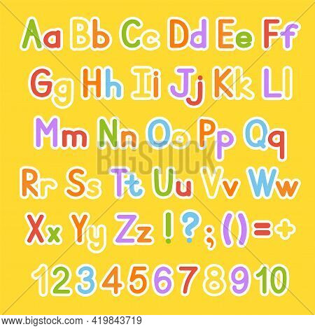 English Alphabet. Vector Set. Bright Color Style. Cartoon Abc. Funny Hand Drawn Font. Numbers, Lower