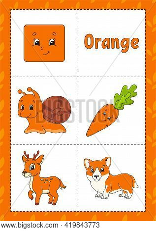 Learning Colors. Flashcard For Kids. Cute Cartoon Characters. Picture Set For Preschoolers. Educatio
