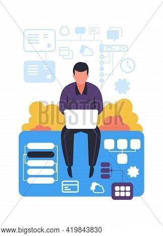 Successfully Organizing Workflow. Time Management Concept. Man Working With Laptop. Effective Job Pl