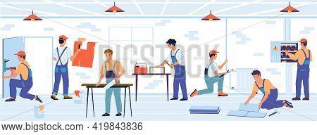 Home Renovation. Cartoon Builders Make Repairs. Professional Brigade Laying Floor Tiles And Painting