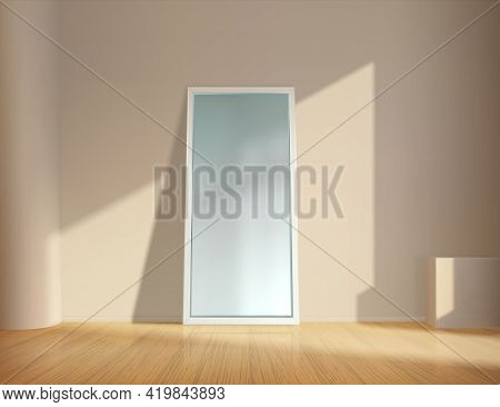 Realistic Mirror. Empty Room With Square Reflective Glass Frame Leans On Wall. Minimalist Interior F