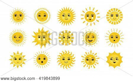 Sun Face. Doodle Yellow Smiles With Sunbeams. Isolated Happy And Sad Emoji Set. Sunny Weather Funny