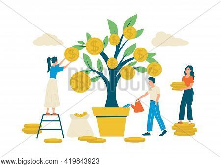 Money Tree. Revenue Growth Concept. People Take Care Of Plant With Gold Coins On Branches. Happy Cha