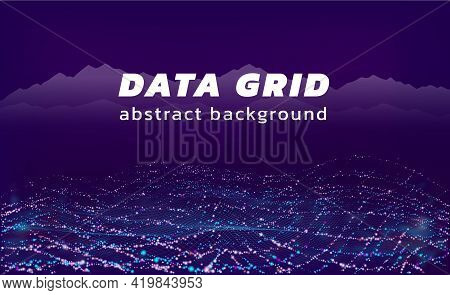 Technology Background. Data Stream And 3d Cyber Flow Visualization Mesh. Abstract Grid With Particle