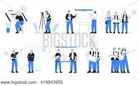 Construction Engineer. Architect Work With Project Blueprint. Contractors And Builders Teamwork. Eng
