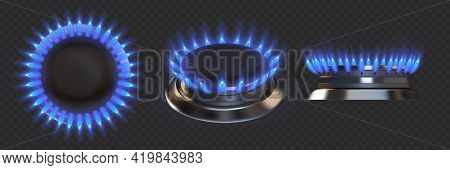 Gas Burner. Realistic Blue Fire Stove. Kitchen Appliance Flame For Cooking Food. Top And Side View O