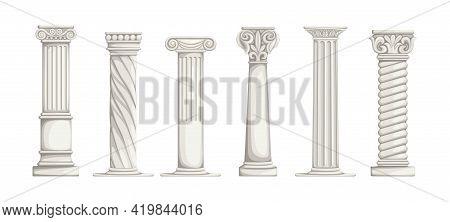 Roman Pillars. White Ancient Greek Marble Columns. Architecture Elements Set. Part Of Building With