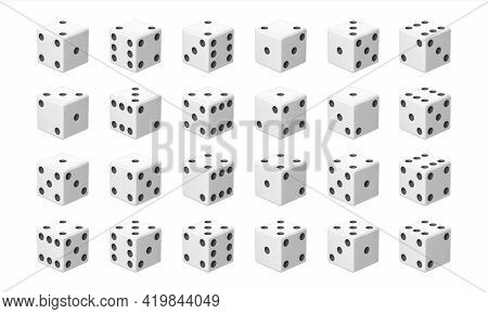 Realistic Dice. White Gambling Cubes With Black Dots. Game Decision Instrument. View From Different