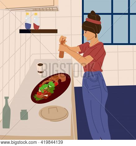 Woman Cooking In Kitchen. Female Preparing Food At Home. Young Character Salting Salad Or Meat. Girl