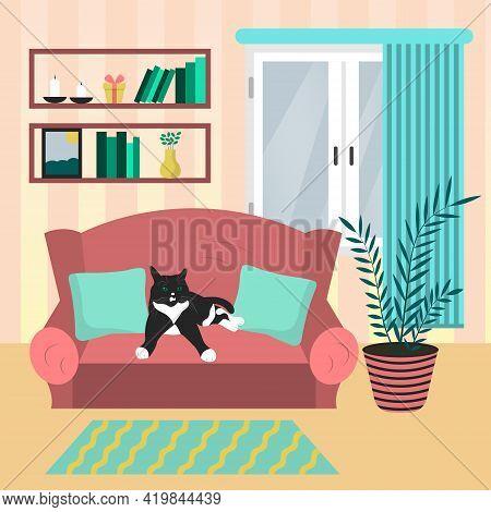 Living Room Interior Design With Cat On The Sofa. Modern Design Interior. Flat Style Vector Illustra
