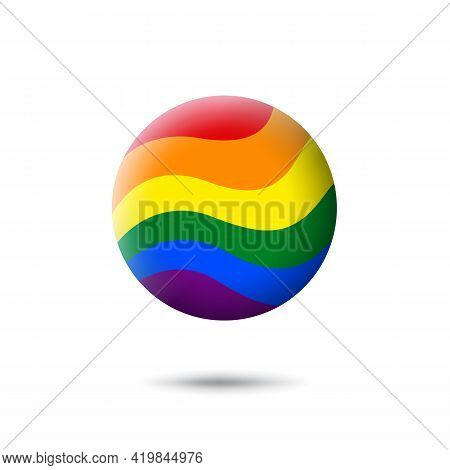 Lgbt Concept - Rainbow Pride Flag Lgbtq Icon In The Shape Of Circle. Abstract Waving Lgbtq Flag. Mul