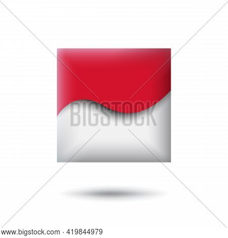 Indonesia Flag Icon In The Shape Of Square. Waving In The Wind. Abstract Waving Flag Of Indonesia. P