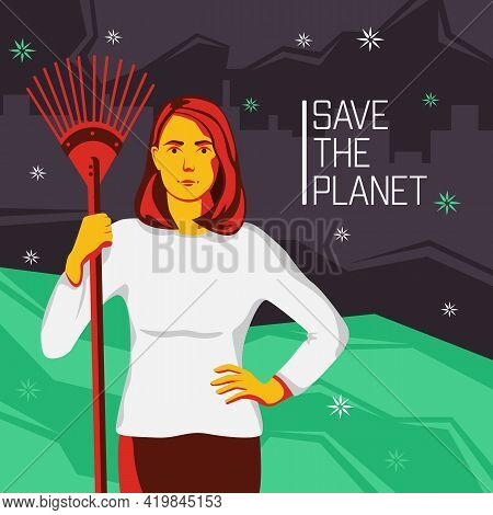 A Girl Stands With A Rake For Cleaning Leaves. Motivation For Preserving The Nature Of The Planet Wi
