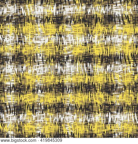 Fashionable Print With Abstract Pattern. Yellow, Black, White Colors Illustration. Seamless Print Fo