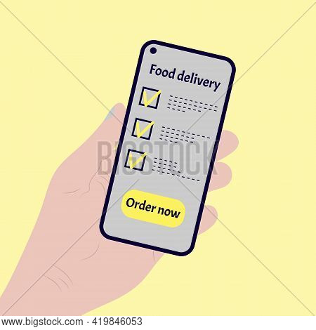 Ordering Food Using Online Mobile Application. Hand Holding Phone With Mobile Order Food Online Webs